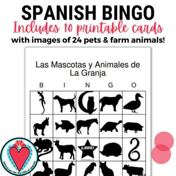 Spanish Animals Bingo | Pets and Farm Animals
