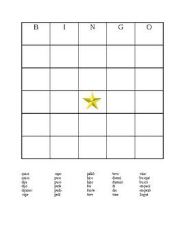 Spanish Bingo--Preterite Irregular verbs