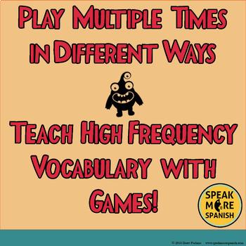 Spanish Bingo Vocabulary for Poder and Infinitives. La Lotería para Vocabulario.