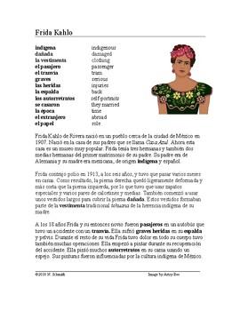 Frida Kahlo Biografía - Spanish Biography + Worksheet and Video Link