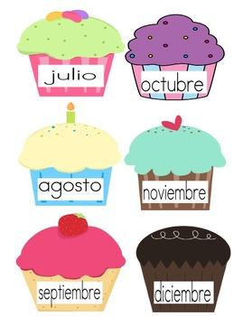 Spanish Birthday Cupcakes - Cumpleaños Meses en Español