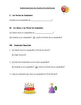 Spanish Birthday Survey // Encuesta: Cumpleaños de Compañeros