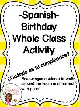 Spanish Birthday Whole Class Activity