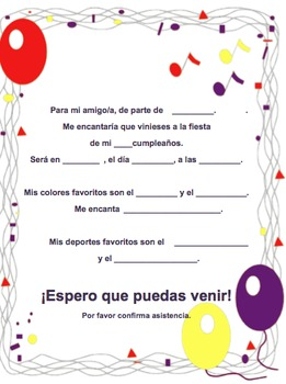 Spanish Birthday invite 1 of 6-Writable PDF & Printable