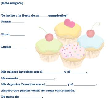 Spanish Birthday invite 2 of 6-Writable PDF & Printable