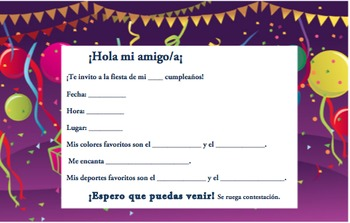 Spanish Birthday Invite 5 Of 6 Writable PDF Printable By Madame Thomas