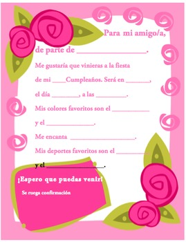 Spanish Birthday Invite 6 Of Writable PDF Printable By Madame Thomas