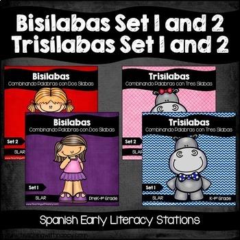 Spanish: Bisilabas and Trisilabas Set 1 and 2 Bundled
