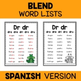 Spanish Blend Word Lists