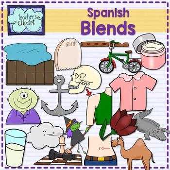 Spanish Blend sounds clipart {Sílabas trabadas en español} + ch