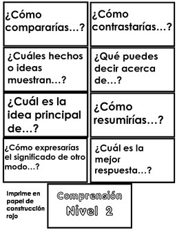 Spanish Bloom's Taxonomy Cards