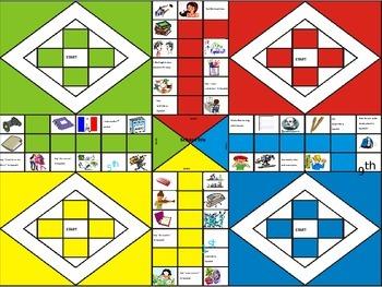 Spanish Board Game: School and supplies (la escuela board game)