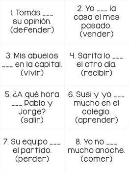 Spanish Board Game Set - preterite verbs