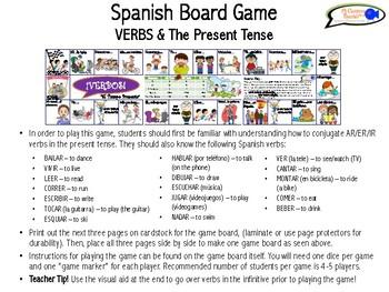 Spanish Board Game - VERBS & the PRESENT TENSE!