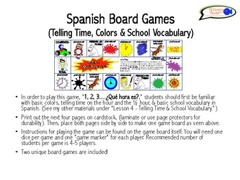 Spanish Board Games (Telling Time, Colors & School Vocabulary)