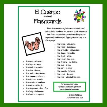Spanish - Body Flashcards
