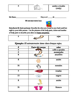 Spanish Body Parts- A/B Communicative Activity