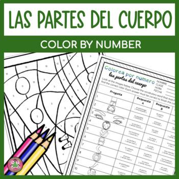 Spanish Body Parts Activity | Color by Number | Colorea por número