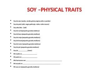 "Physical Characteristics- Descriptive Adjectives in Spanish - ""Soy"" -Mi Retrato"