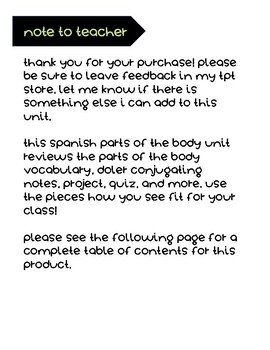 Spanish Body Parts Bundle