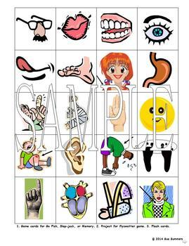 Spanish Body Parts Bundle - Worksheets, Song, Chant, Vocabulary, Flash Cards