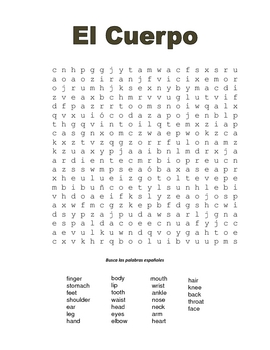 Spanish Body Parts Crossword Puzzle and Wordsearch