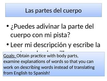 Spanish Body Parts - Descriptions - Descubre 2, Lección 1