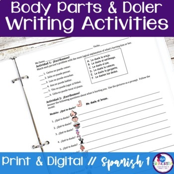 Spanish Body Parts & Doler Writing Activities