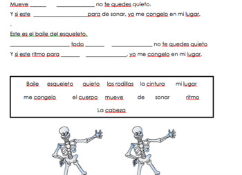 Spanish Body Parts- El Baile del Esqueleto Cloze Activity