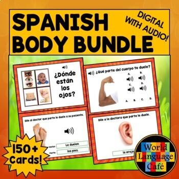 Spanish Body Parts Flashcards, Digital Flashcards, Distance Learning, Boom