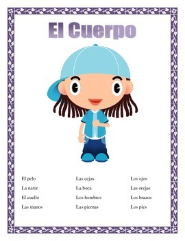 El Cuerpo- Label Little League Boy-  Criss Cross Puzzle-Sp