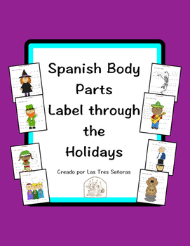 Spanish Body Parts Label through the Holidays