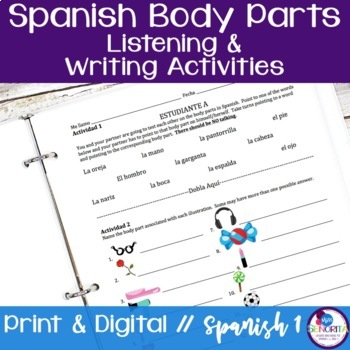 Spanish Body Parts Listening and Writing Activities