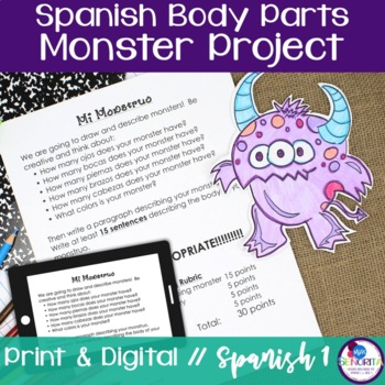 Spanish Body Parts Monster Project