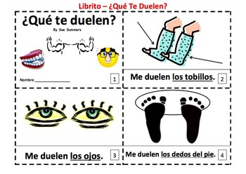 Spanish Body Parts Plurals Que Te Duelen? - Me Duelen Booklets
