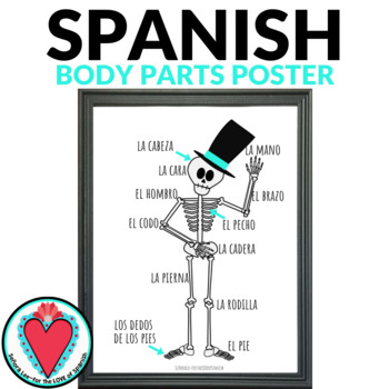Spanish Body Parts Poster - Day of the Dead Skeleton