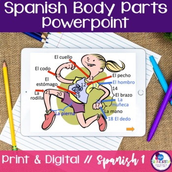 Spanish Body Parts Powerpoint & Vocabulary