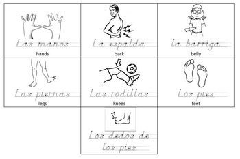 Spanish Body Parts Practice Pages Bundle