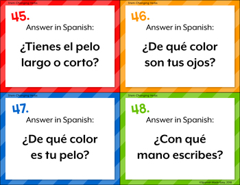 Spanish Body Parts Task Cards
