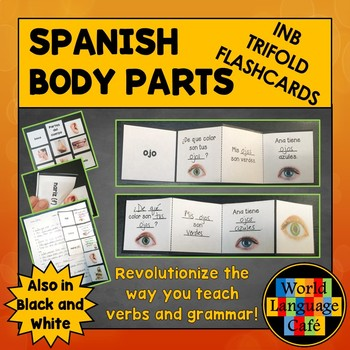 Spanish Body Parts Flashcards, Interactive Notebook Trifold Flashcards