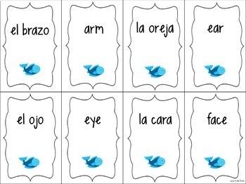 Spanish Body Parts Vocabulary ¡Pesca! (Go Fish) Game