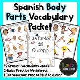 Spanish Body Parts Vocabulary Packet