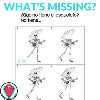 Spanish Body Parts Speaking Activity - What's Missing?