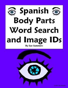 Spanish Body Parts Word Search (30 Words) and 14 Image IDs - Cuerpo