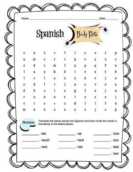 Spanish Body Parts Worksheet Packet