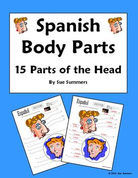 Spanish Body Parts of the Head Diagram to Label - 15 Parts