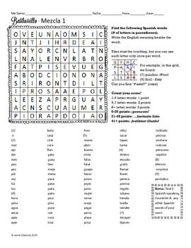 Spanish Boggle Spanish 1 Vocabulary Review (Mix 1)