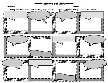 Spanish Book Report - Comic Strip