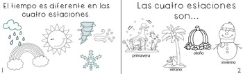 Spanish Booklet- Seasons, weather, clothing-  2 versions included!