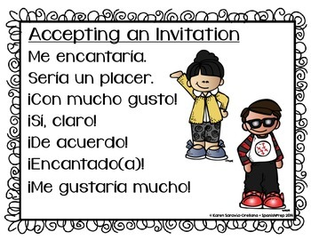 Spanish Bookmarks & Posters for accepting & declining an invitation